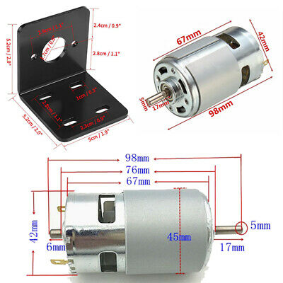 High Speed Adjustable Motor DC 12V-24V 10000 Rpm 775 Motor Set + Bracket