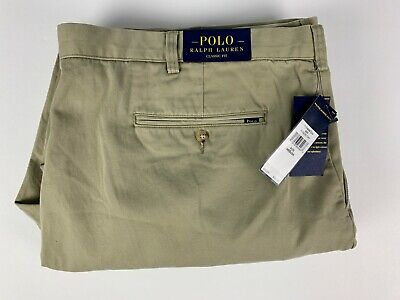 NWT $98 Polo Ralph Lauren Classic Fit Pleated Chinos Hudson Tan Pants 46 X 32