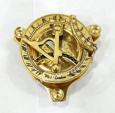 CASED VINTAGE MARITIME LONDON BRASS SUNDIAL COMPASS Sextant Navigation Nautical