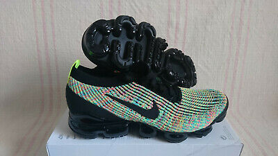 Nike Air Vapormax Flyknit 3 Black Volt Green Blue Gem Multi AJ6900006 Size 9.5