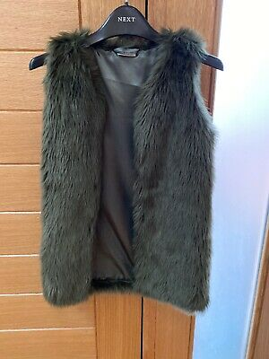 Next Girls Green Faux Fur Gillet. Age 9 Years