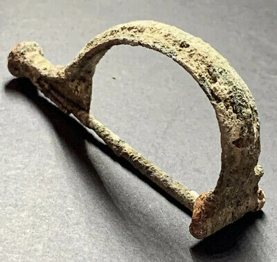 Ancient Roman 2nd Century Bronze Fibula Intact With Pin. Large Bow Type.