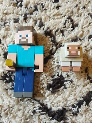 Minecraft Steve Torch And Sheep Figure