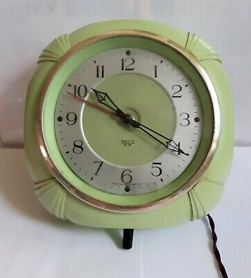Vintage Art Deco electric wall clock green plastic South African, Durban (Rare?)