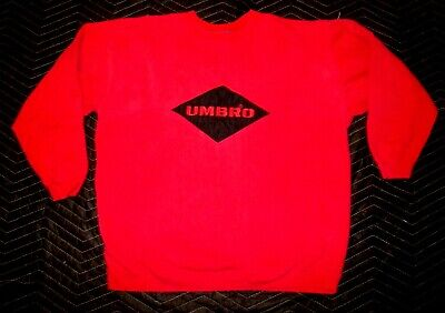 Vtg 80s UMBRO SPELLOUT Pullover RED Crew Neck USA MADE Sweatshirt Mens XL #430