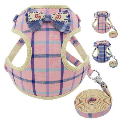 Pet Dog Harness and Lead for Small Medium Dogs Soft Cotton Vest Mesh Padded S M