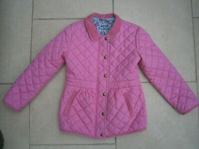 Joules Girls Jinty Diamond Quilted Riding Style Jacket Pink/Floral Age 8* Vgc