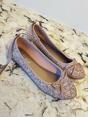 NEXT Brand Girls pink glittery bow ancle strap shoes, Size 2. WORN ONCE INSIDE!