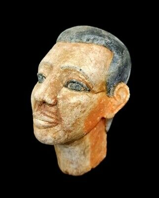 Hieroglyphic Mask Bust Egyptian Antique King Coffin Sculpture Very Rare Bead