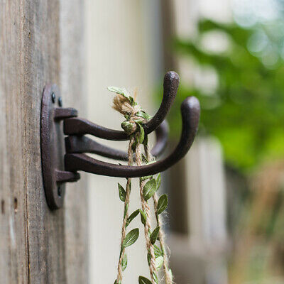 3 Arms Wall Hooks Rustic Cast Iron  Heavy Duty Garden Organization Wall Mounted