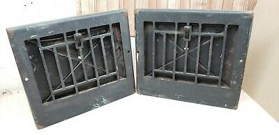 Antique floor grate wall grate heating vent register lot of 2 metal