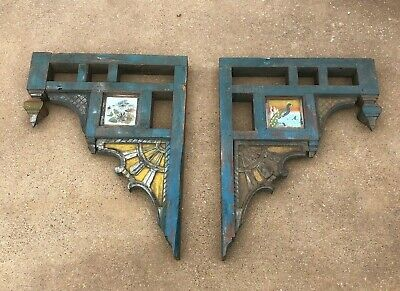 Antique Pair Victorian CORBELS Architectural Porch Gingerbread w Painted Glass