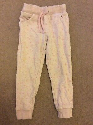 Girls Age 3-4 Pale Pink With Stars Elasticated Waist Jogging Bottoms By F&F