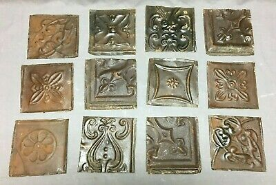12 Antique Tin Metal Ceiling 6x6  Rust Crafts Art Projects Vtg 46-20B