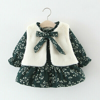 Toddler Kids Baby Girls Waistcoat Dress Warm Outfit Lined Sherpa Ruffle Floral