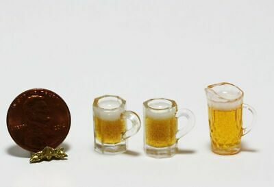 Dollhouse Miniature Two Beer Pilsner Glasses Filled ~ FA60007