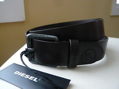 NWT Mens Diesel Leather Belt Logo Brown Made in Italy  32(80) 34 (85) 36, 38 100