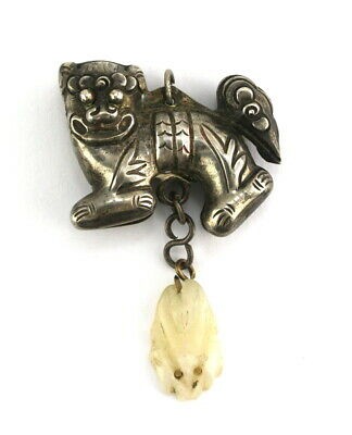 Antique Chinese Silver Heavy Foo Dog Buddhist Lion Carved White Jade Pendant