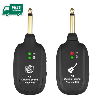 Wireless Electric Guitar Transmitter Receiver A8 UHF Rechargeable USB 50m Range