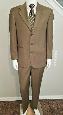 Zeidler & Zeidler 40 R  Men's 2 Piece Suit Olive Green Geometric 100% Wool