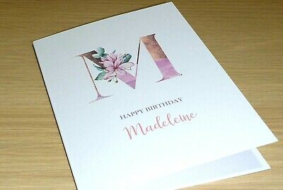 Personalised female Birthday card - Magnolia monogram - rose gold - handmade