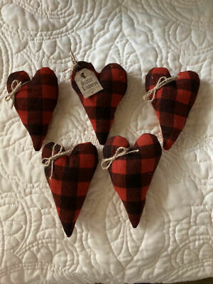 5 Primitive Red Buffalo Plaid Quilt Hearts Bowl Fillers Ornies Scatter Kindness