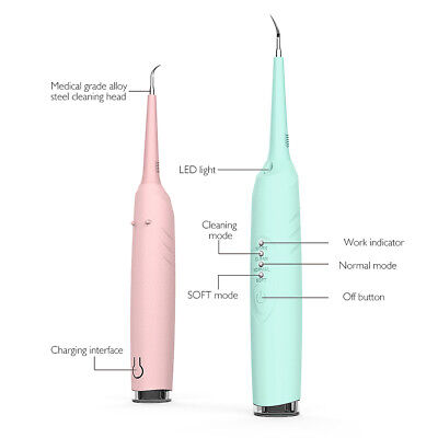 Dental LED Tooth Cleaner Sonic Ultrasonic Scaler Calculus Remover Blue/Pink
