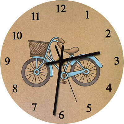 275mm 'Dutch Bike With Basket' Large Wooden Clock (CK00026102)