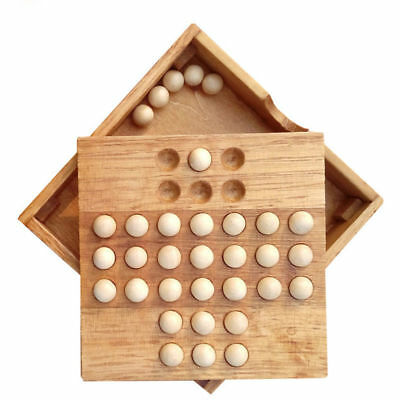 Classic Kids Puzzle Wooden Board Game Toys Single Chess Peg Solitaire Diamond