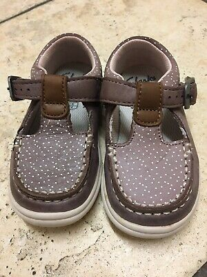 Girls Clarks Leather Casual Buckle T Bar Toddler Walking Shoes Cloud Rosa T Size