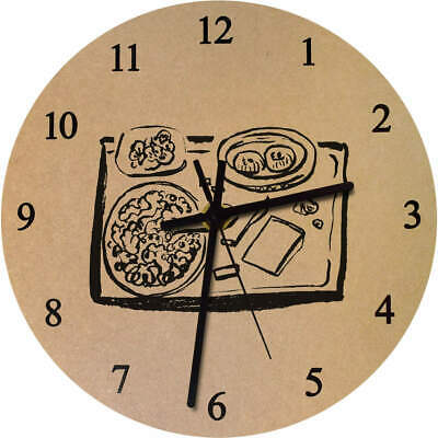 275mm 'Tray Of Food' Large Wooden Clock (CK00024693)