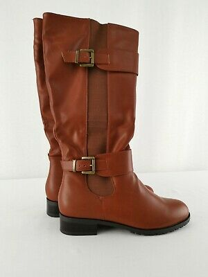 BRAND NEW w/ BOX No Doubt Wide Leg Riding Boots 40cm Tall UK 5 Tan Faux Leather