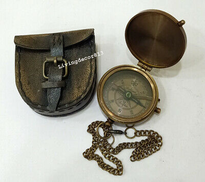 Nautical Antique Brass Marine Compass Marine Leather Case Collectibles