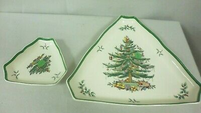 Spode  Christmas Tree China - 2 Triangle Shape Serving Dishes Small & Large (Tr)