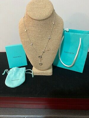 Tiffany & Co Sterling Silver Lariat Heart Station Necklace