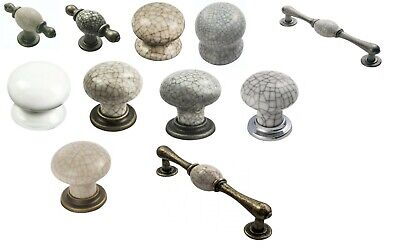 Matching Crackle Porcelain Door Knobs Cupboard Drawer Cabinet Handle