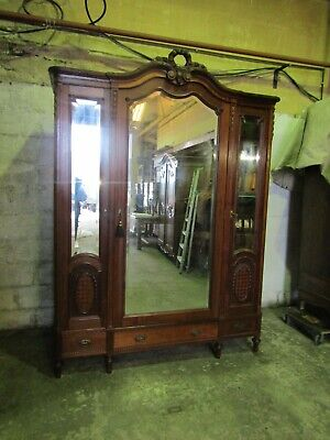 Superb antique French carved mirrored mahogany armoire,wardrobe,Flat packs C1900