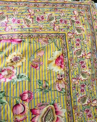 Lovely April Cornell square floral tablecloth 50 x 50 Peonies + flowers yellow
