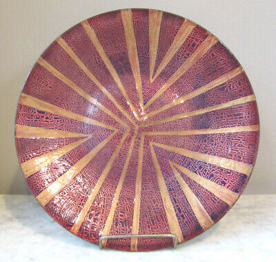 "Vintage 11.5"" Enamel Copper Plate Signed RPS Abstract, Red, Gold, Crackle Finish"