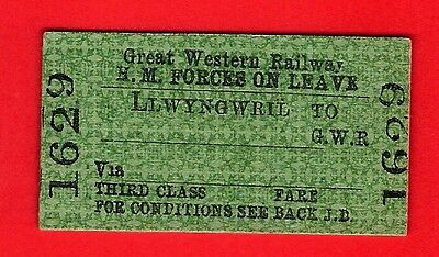 Great Western Railway Ticket - GWR 3rd HM Forces Leave - Single from Llwyngwril