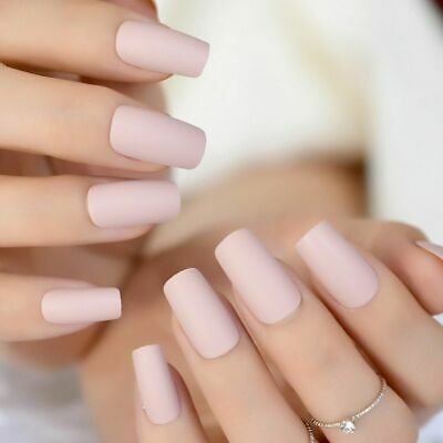 Soft Pink Purple Matte False Nails Light Lilac Color Frosted Women Fake Nail New