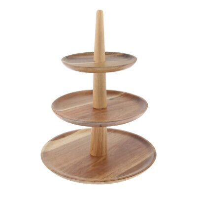 3Tier Vintage Wooden Round Cake Stand Tray Food Platter Party Tray