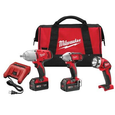 Milwaukee M18 Impact Wrench and Flashlight 3-Piece Kit MLW2696-23 Brand New!