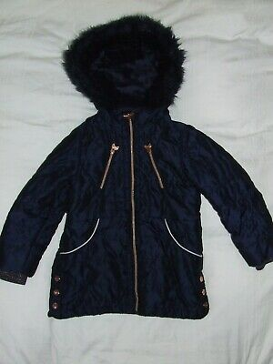 Girls Ted Baker navy blue coat age 7 years Hooded