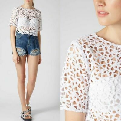 Topshop summer casual ladies girls pretty white crotchet cotton cardigan top NEW