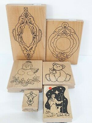 Creative Expressions Wood Mounted Christmas Rubber Stamps x 6 Snowman Bauble