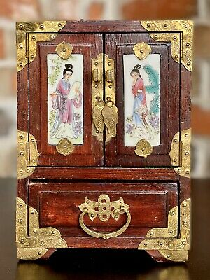 Vintage Chinese Oriental Jewelry Trinket Box Hand Painted ~Wood~ Antique Chests