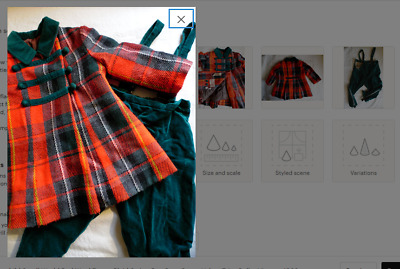 Rothschild Small World Red Wool Tartan Plaid Swing Pea Coat Green Velvet 3/4T