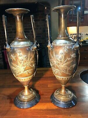 Pair of French Bronze Urns Aesthetic Movement insects/foliage in relief c1890