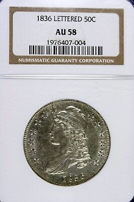 1836 - NGC AU58 LETTERED Capped Bust Half Dollar!!  #HD0212
